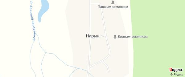 Магистральная улица на карте поселка Нарына с номерами домов