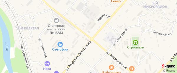 Улица Космонавтов на карте Северобайкальска с номерами домов