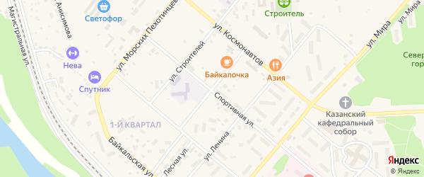 Школьный переулок на карте Северобайкальска с номерами домов