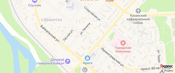 Ленинградская улица на карте Северобайкальска с номерами домов