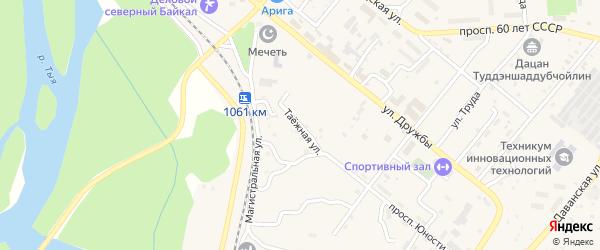 Таёжная улица на карте Северобайкальска с номерами домов
