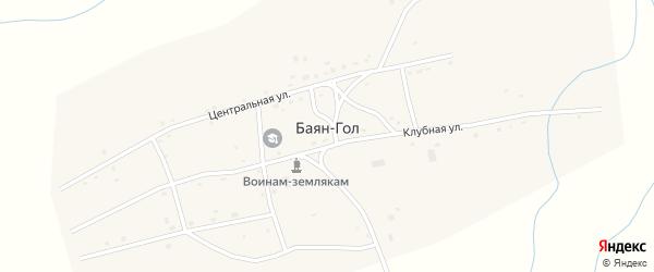 Клубный переулок на карте улуса Баян-Гол с номерами домов