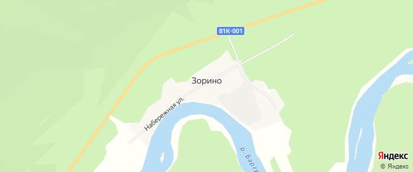 Карта села Зорино в Бурятии с улицами и номерами домов