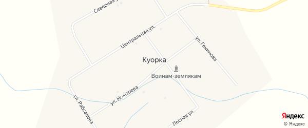 Улица Генинова на карте улуса Куорка с номерами домов