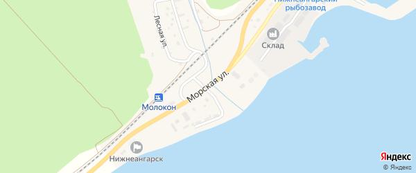 Морская улица на карте поселка Нижнеангарска с номерами домов