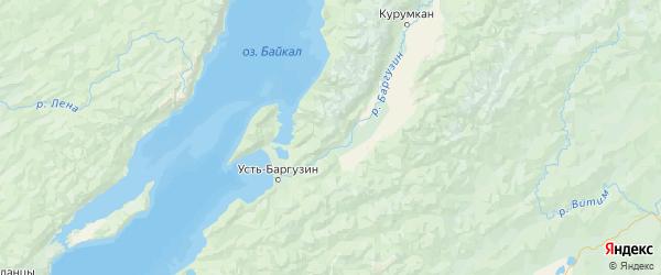 Карта Баргузинского района республики Бурятия с городами и населенными пунктами