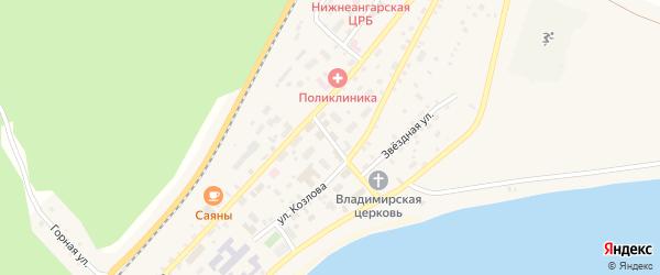Центральный переулок на карте поселка Нижнеангарска с номерами домов
