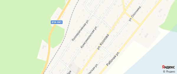 Комсомольская улица на карте поселка Нижнеангарска с номерами домов