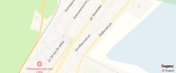 Октябрьская улица на карте поселка Нижнеангарска с номерами домов