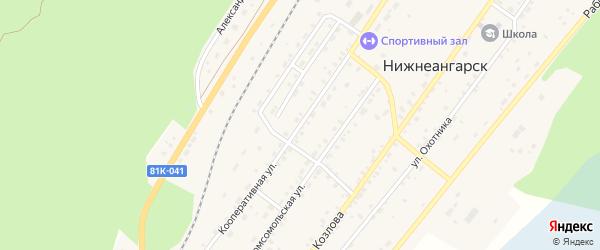 Кооперативная улица на карте поселка Нижнеангарска с номерами домов
