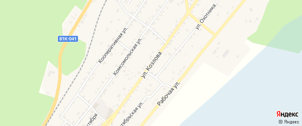 Улица Козлова на карте поселка Нижнеангарска с номерами домов