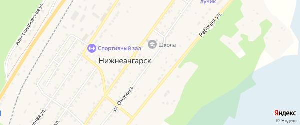 Улица Охотника на карте поселка Нижнеангарска с номерами домов