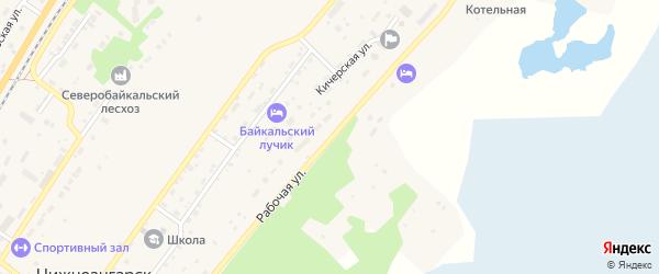 Рабочая улица на карте поселка Нижнеангарска с номерами домов