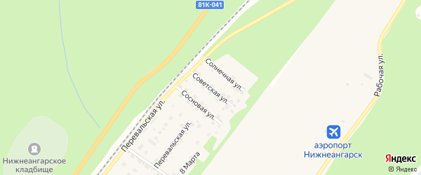 Советская улица на карте поселка Нижнеангарска с номерами домов