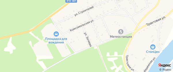 Улица Затеева на карте села Баргузина с номерами домов