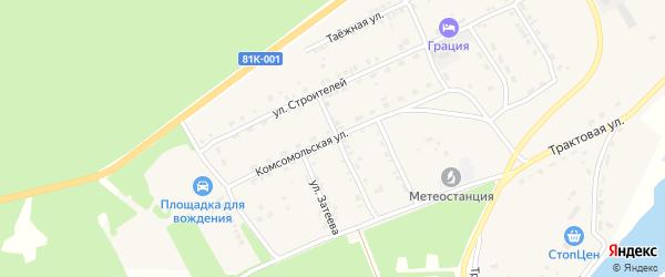 Комсомольская улица на карте села Баргузина с номерами домов