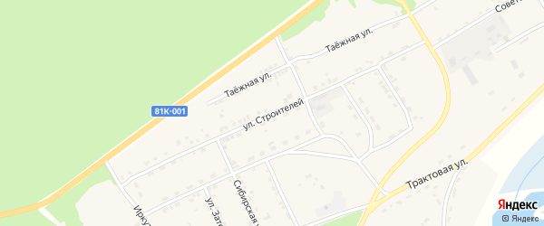 Улица Строителей на карте села Баргузина с номерами домов