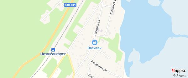 Таежная улица на карте поселка Нижнеангарска с номерами домов