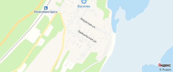 Байкальская улица на карте поселка Нижнеангарска с номерами домов