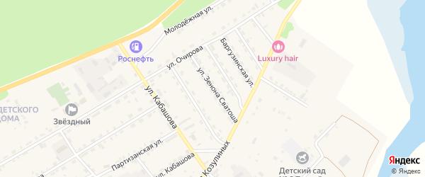 Улица Зенона Сватоша на карте села Баргузина с номерами домов