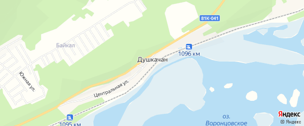 Карта поселка Душкачана в Бурятии с улицами и номерами домов