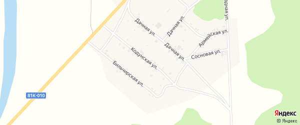 Кодунская улица на карте села Хоринск с номерами домов
