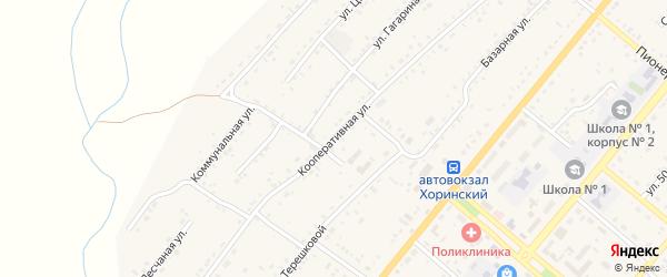 Кооперативная улица на карте села Хоринск с номерами домов