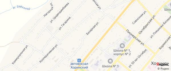 Базарная улица на карте села Хоринск с номерами домов