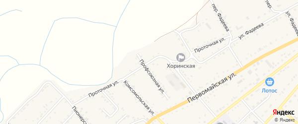 Проточная улица на карте села Хоринск с номерами домов