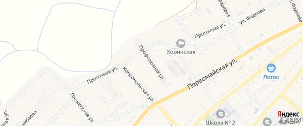 Профсоюзная улица на карте села Хоринск с номерами домов