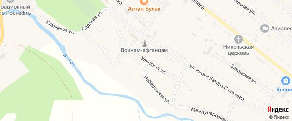 Удинская улица на карте села Хоринск с номерами домов