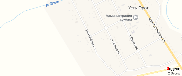 Улица Гомбоева на карте улуса Усть-Орот с номерами домов