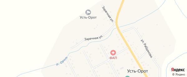 Заречная улица на карте улуса Усть-Орот с номерами домов