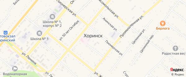 Промышленный переулок на карте села Хоринск с номерами домов