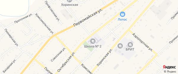 Октябрьская улица на карте села Хоринск с номерами домов