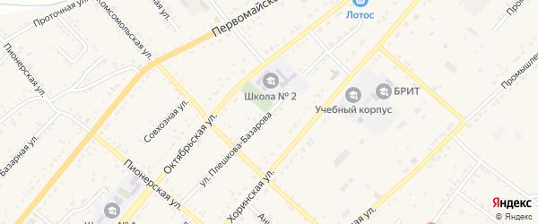 Улица Плешкова-Базарова на карте села Хоринск с номерами домов