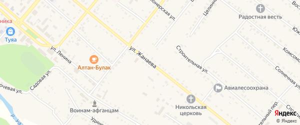 Улица Жанаева на карте села Хоринск с номерами домов