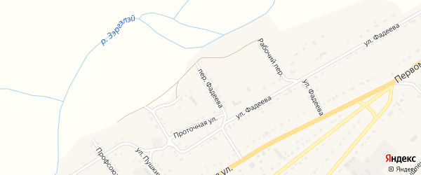 Переулок Фадеева на карте села Хоринск с номерами домов