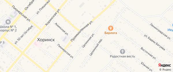 Комсомольская улица на карте села Хоринск с номерами домов