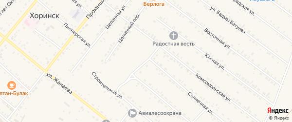 Спортивный переулок на карте села Хоринск с номерами домов