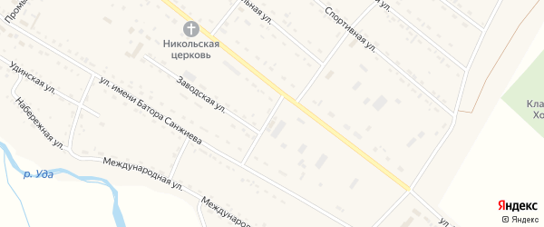 Переулок Жанаева на карте села Хоринск с номерами домов