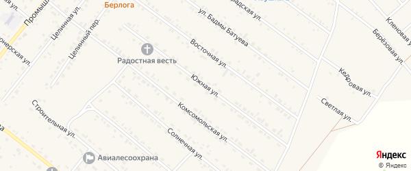Южная улица на карте села Хоринск с номерами домов
