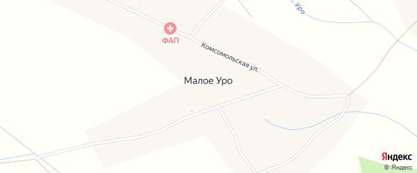 Полевой переулок на карте села Малого Уро с номерами домов