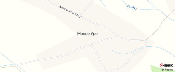 Подгорная улица на карте села Малого Уро с номерами домов