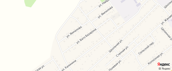 Улица Б.Базарона на карте села Кижинги с номерами домов