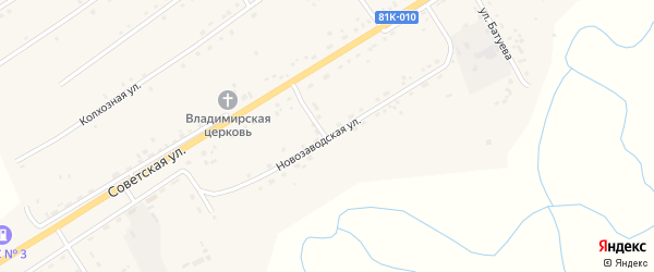 Новозаводская улица на карте села Кижинги с номерами домов