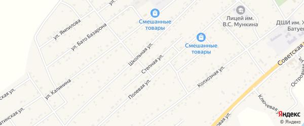Степная улица на карте села Кижинги с номерами домов