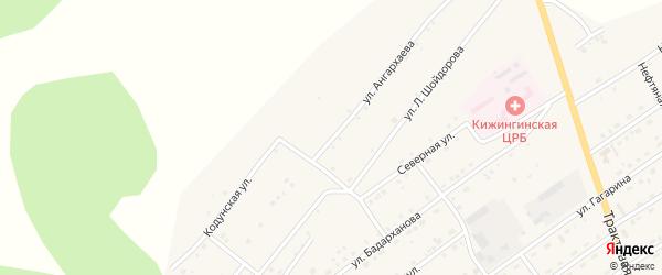 Улица Ангархаева на карте села Кижинги с номерами домов