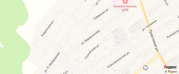 Улица Бадарханова на карте села Кижинги с номерами домов