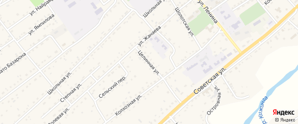 Целинная улица на карте села Кижинги с номерами домов